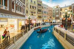 MACAO KINA - JANUARI 24, 2016: Den Venetian inre sikten för Macao semesterorthotell Arkivfoton