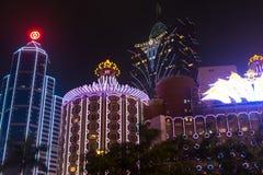 Macao Kina - 2014 10 15: Macao - dobblerihuvudstaden av Asien Fotoet av det berömda storslagna Lissabon hotellet Royaltyfria Bilder