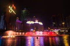 Macao Kina - 2014 10 15: Macao - dobblerihuvudstaden av Asien Fotoet av det berömda Wynn hotellet Royaltyfri Fotografi