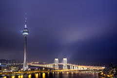 Macao landmark. Travel tower in night, cityscape in Macau, China Royalty Free Stock Photos