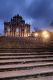 Macao landmark - Ruins of St. Paul's. With stairs and lamp in night royalty free stock photography