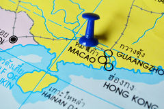 Macao map. Macro shot of macao map with push pin Stock Image