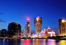 Macao på natten Arkivfoton