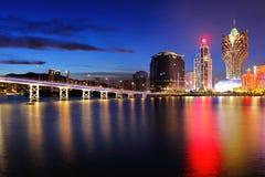 Macao på natten Royaltyfri Fotografi