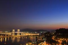 Macao på natten fotografering för bildbyråer