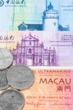 Macao-Patacageld-Banknotennahaufnahme Stockfotos