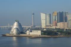 Macao Sience Center, Sai Van Bridge and Macau Tower. Macau, JAN 1: Morning view of the Macao Sience Center, Sai Van Bridge and Macau Tower on JAN 1, 2017 at Stock Photos