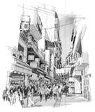Macao-sketch. Digital sketch black and white of Macao