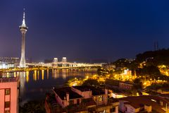 Macao skyline at night Royalty Free Stock Photography