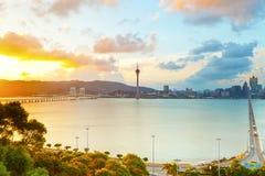 Macao stad på solnedgången Arkivfoton