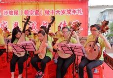 Macao taoistanslutning utför taoistmusik Royaltyfri Foto