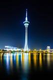 Macao torn på natten fotografering för bildbyråer