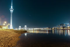 Macao Tower and Bridge to Taipa at night. Time on march 2014 Royalty Free Stock Images