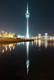 Macao Tower and Bridge to Taipa at night Stock Photos