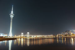 Macao Tower and Bridge to Taipa at night. Time on march 2014 Royalty Free Stock Image