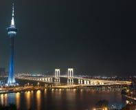 Macao Tower and Sai Van Bridge at Night Macau. Panorama of Night Macao with Macao Tower and Sai Van Bridge on April 2014 Royalty Free Stock Image