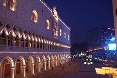 Macao Venetian kasinodoges semesterort för kopia för slott vid natt Fotografering för Bildbyråer