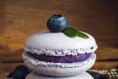 Macaorons用蓝莓 免版税库存照片