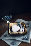 Macaorons avec des myrtilles Photos libres de droits