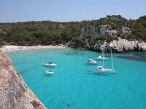 Macarella Strand in Menorca (Spanien) Lizenzfreies Stockbild