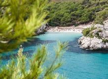 Macarelleta海滩在Menorca,西班牙 库存图片