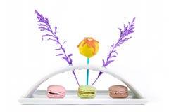 Macaron和蛋糕流行音乐 库存图片