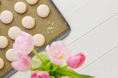 Macaron στο φύλλο ψησίματος με crumbs Στοκ εικόνες με δικαίωμα ελεύθερης χρήσης