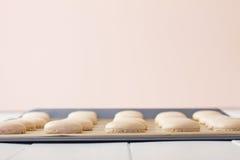 Macaron на листе выпечки низком Стоковые Изображения