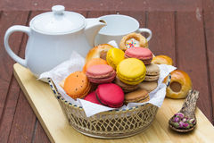 Macaron in  basket Royalty Free Stock Photo
