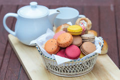 Macaron in  basket Stock Photo