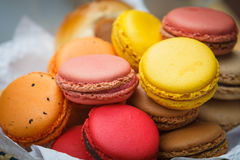 Macaron in  basket Stock Photography