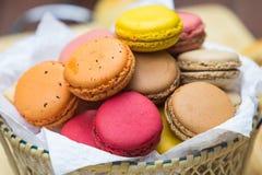 Macaron in  basket Stock Image
