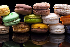 Macaron, black background, Confectionery Royalty Free Stock Photos