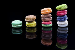 Macaron,black background, Confectionery. Close up shot of various kind of fresh macaroon arrangement Royalty Free Stock Image