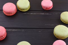 Macaron on black with Copy space Stock Image