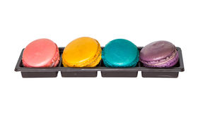 Macaron in box. Isolated Macaron in plastic box Royalty Free Stock Images