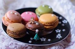 Macaron Christmas. Gingerbreadman Christmastree food french bakery beautiful winter season holiday celebration sweets candy Stock Images