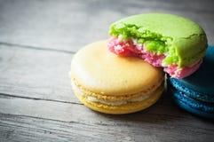 Macaron closeup on wooden Royalty Free Stock Image