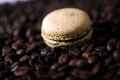 Macaron and coffee beans Stock Photos