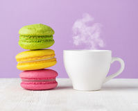 Macaron and cup of coffee Royalty Free Stock Photos