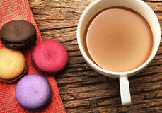 Macaron dessert and coffee cup Stock Photos