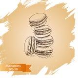 Macaron di schizzo dell'illustrazione di vettore Fotografie Stock