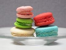 Macaron efterrätt för teatid. Arkivbilder