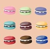 Macaron eller makronsymbolsuppsättning Arkivfoto