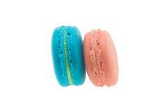 Macaron/färgrik franska Macarons på den vita bakgrunden Fotografering för Bildbyråer