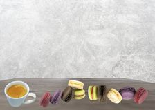 Fresh coffee and macaron greeting card and background stock photography