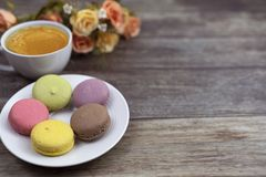Macaron greeting card and background royalty free stock photography