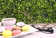 Macaron greeting card and background stock photos