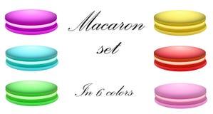 Macaron ha messo in 6 colori Fotografie Stock Libere da Diritti