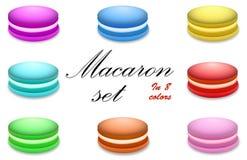 Macaron ha messo in 8 colori Immagini Stock Libere da Diritti